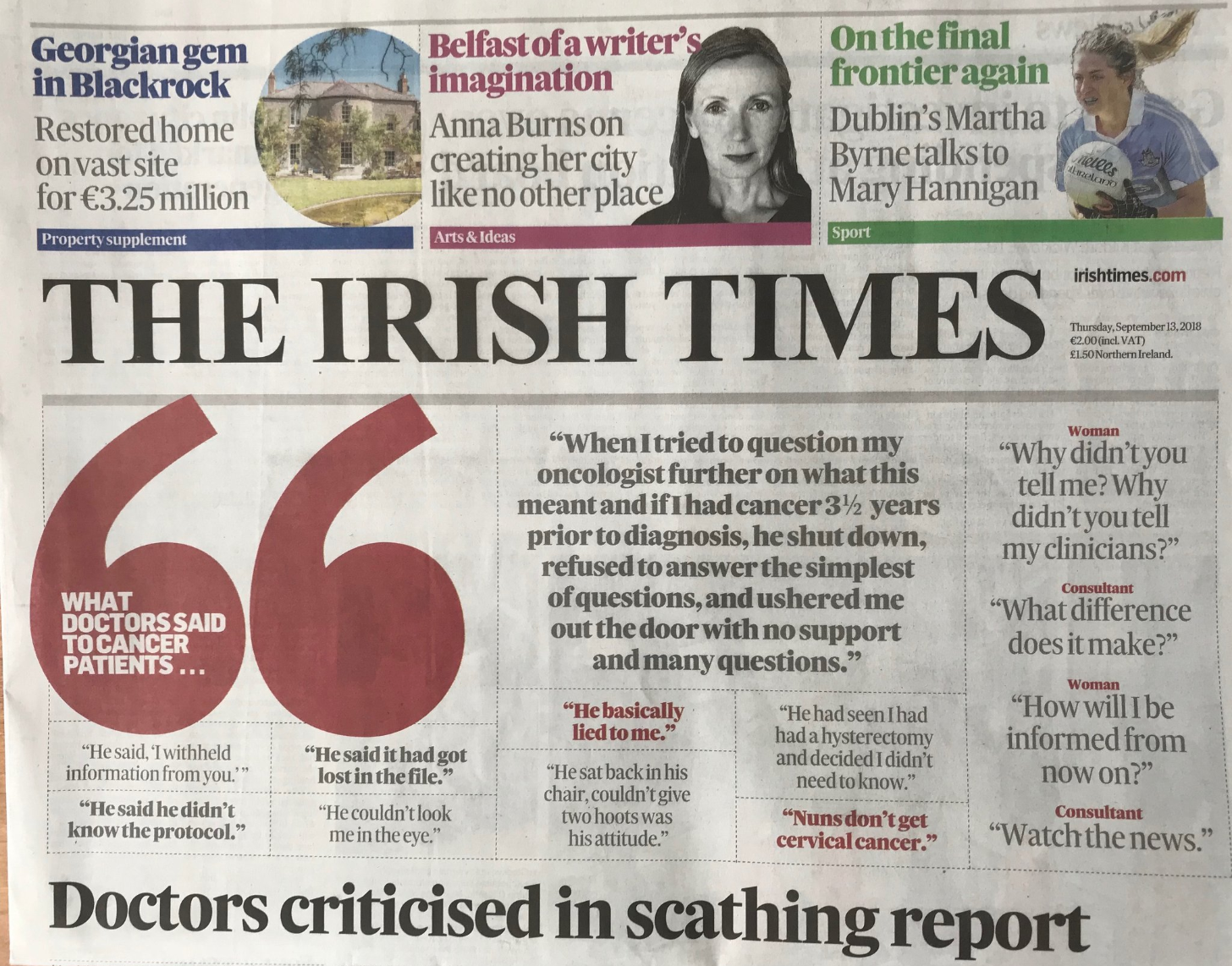 Irish Times frontcover doctor quotes